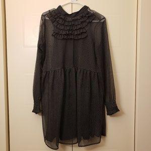 Black polka dot dress Victorian retro dress